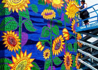 Spiral Vortex Sunflower Mural
