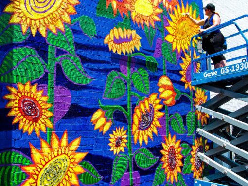 Spiral Vortex Sunflower Mural